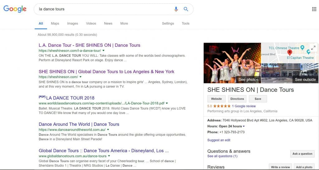 Example Google Knowledge Panel for SHE SHINES ON Dance Tours