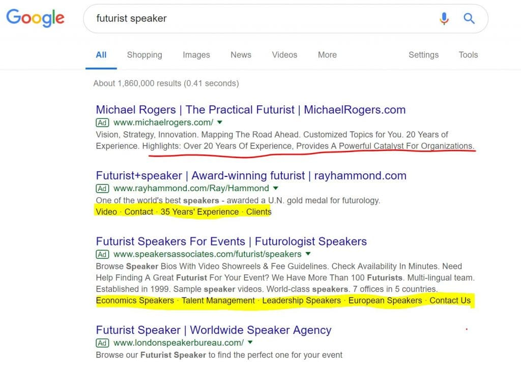 Example Google Search Ads for Keyword Futurist Speaker