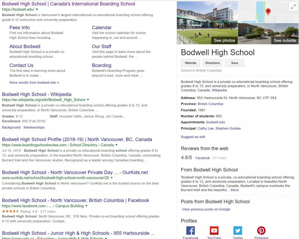 Example Organic Search Results for Bodwell High School