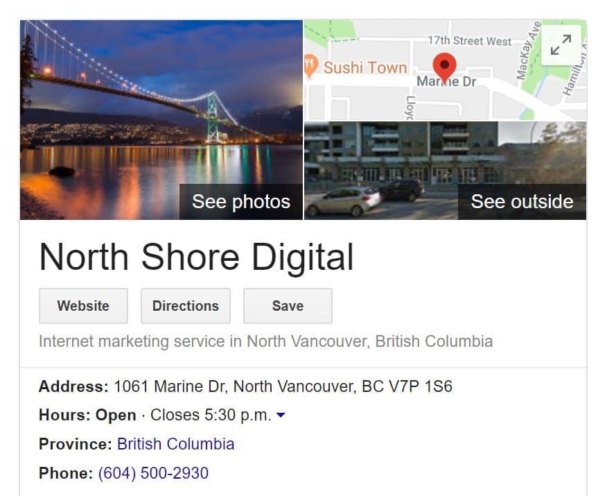 North Shore Digital Google My Business Profile