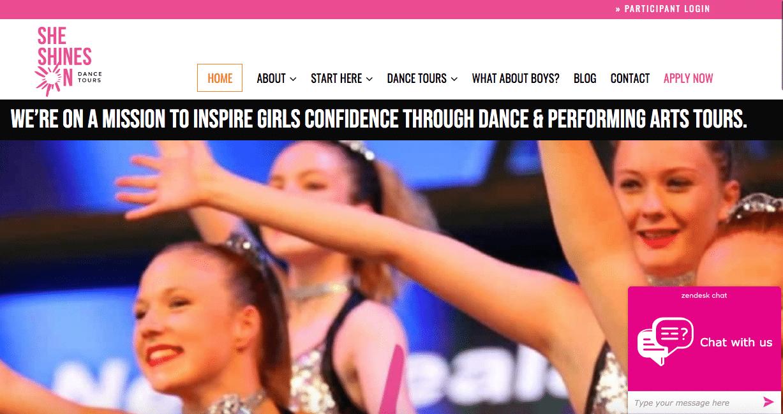 SHE SHINES ON DANCE TOURS Homepage Screenshot