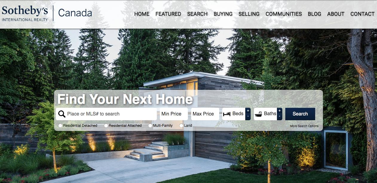 SOTHEBYS REALTY Homepage Screenshot